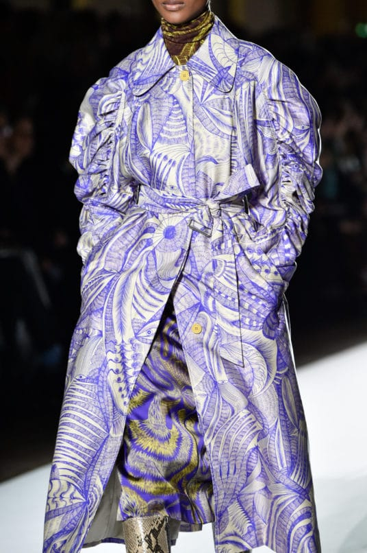 Dries Van Noten's dramatic take on sleeves at Fall/Winter 2018-19. Image: Courtesy Peter White/Getty Images