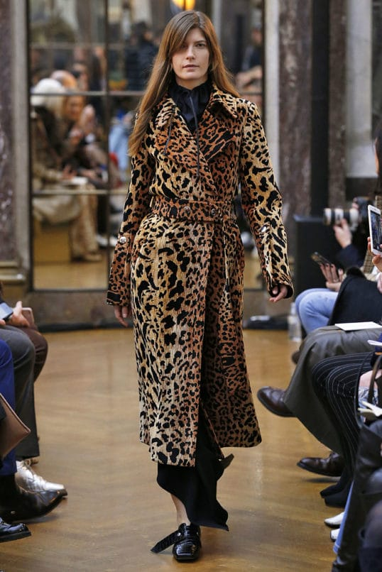 A model in a Victoria Beckham leopard print coat at Fall Winter 2018-19 Collection. Image: Courtesy MCV Photo For The Washington Post via Getty Images)