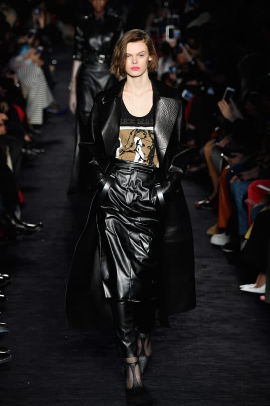 An all leather look at the Max Mara at Fall/Winter 2018-19. Image: Courtesy Pietro D'aprano/Getty Images