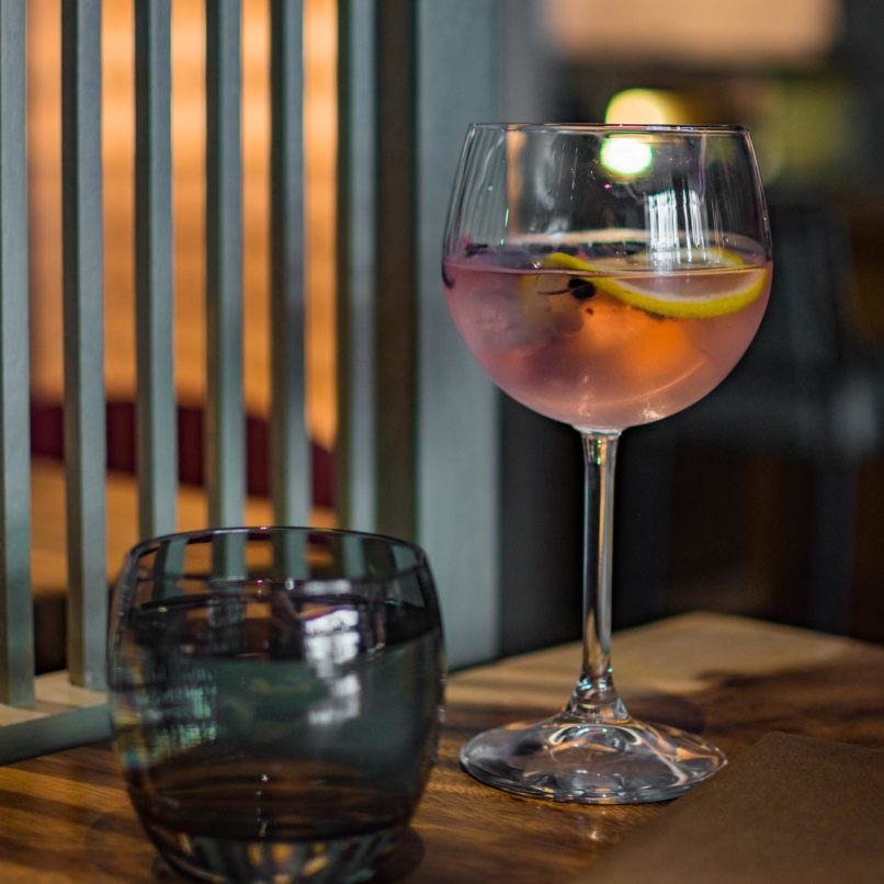 The rose and hibiscus infused gin at Comorin restaurant, Gurugram