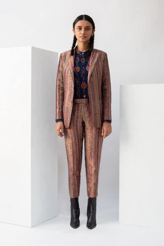 Brocade pantsuits by Suket Dhir