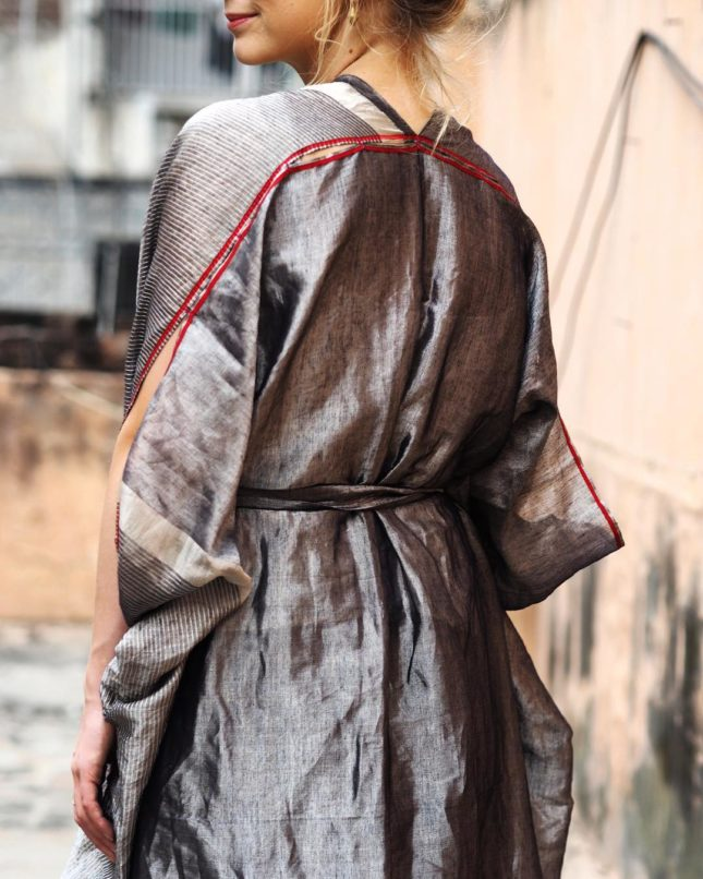 Behno's take on sustainable fashion in India includes rehashing old garments. This A dress in handwoven zari on a base of Khadi cotton