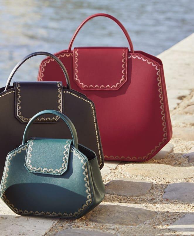 Guirlande de Cartier bags in signature Cartier case hues-red, green, black