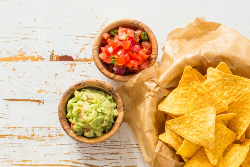 Nachos, salsa, and guacamole. Food Trends 2019