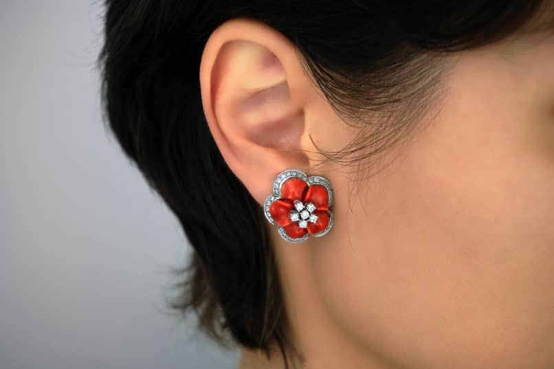 Coral hued earrings. Image: Courtesy Shutterstock