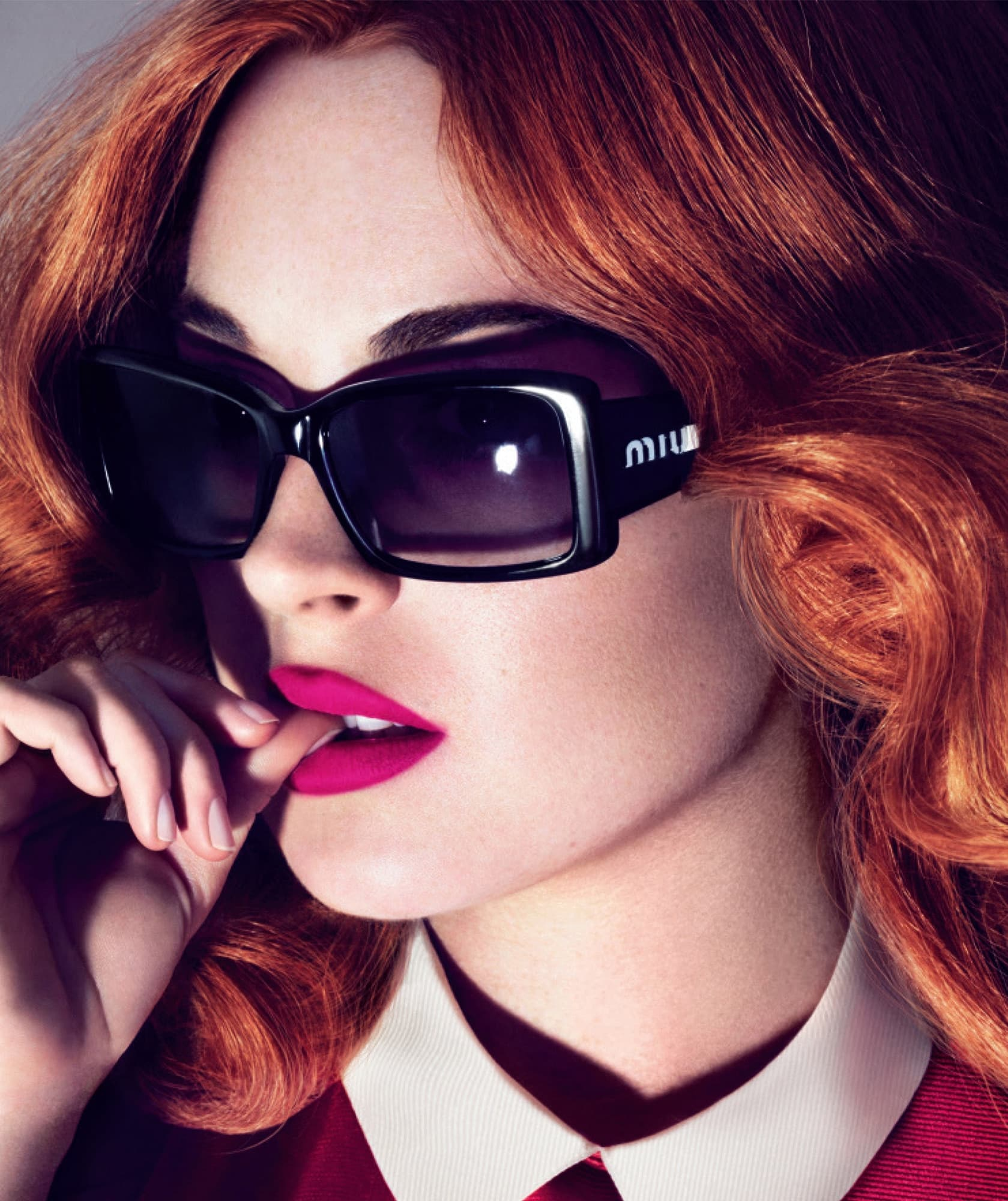 fashion news The iconic Miu Miu sunglasses on actress Lindsay Lohan for their  Spring Summer 2007 campaign. aaf64ae86084