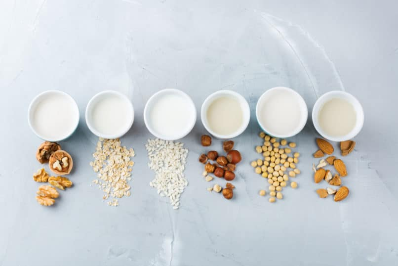 Oat milk, alternative milks from nuts, rice, and soy