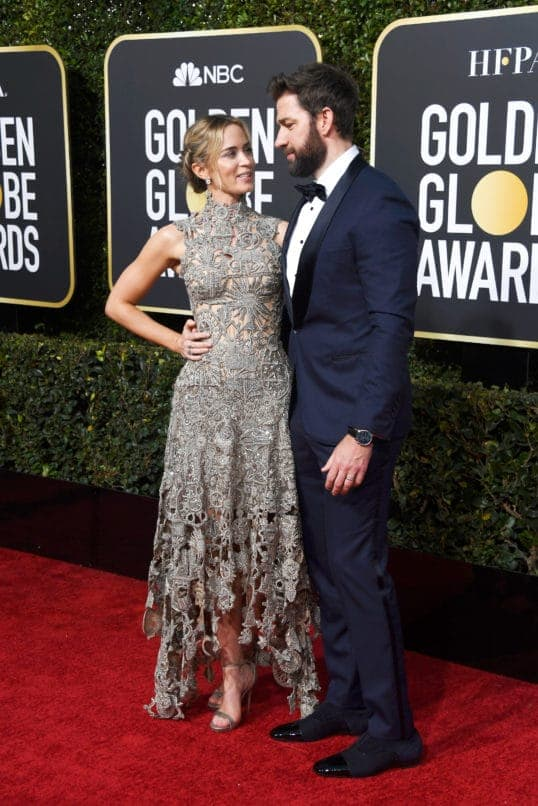 BEVERLY HILLS, CA - JANUARY 06: Emily Blunt (L) and John Krasinski attend the 76th Annual Golden Globe Awards at The Beverly Hilton Hotel on January 6, 2019 in Beverly Hills, California. (Photo by Frazer Harrison/Getty Images)