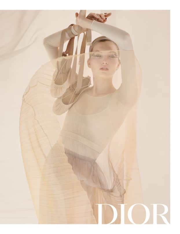 Ruth Bell, channeling her inner Isadora Duncan in Dior S/S19 campaign. Image:Courtesy Dior