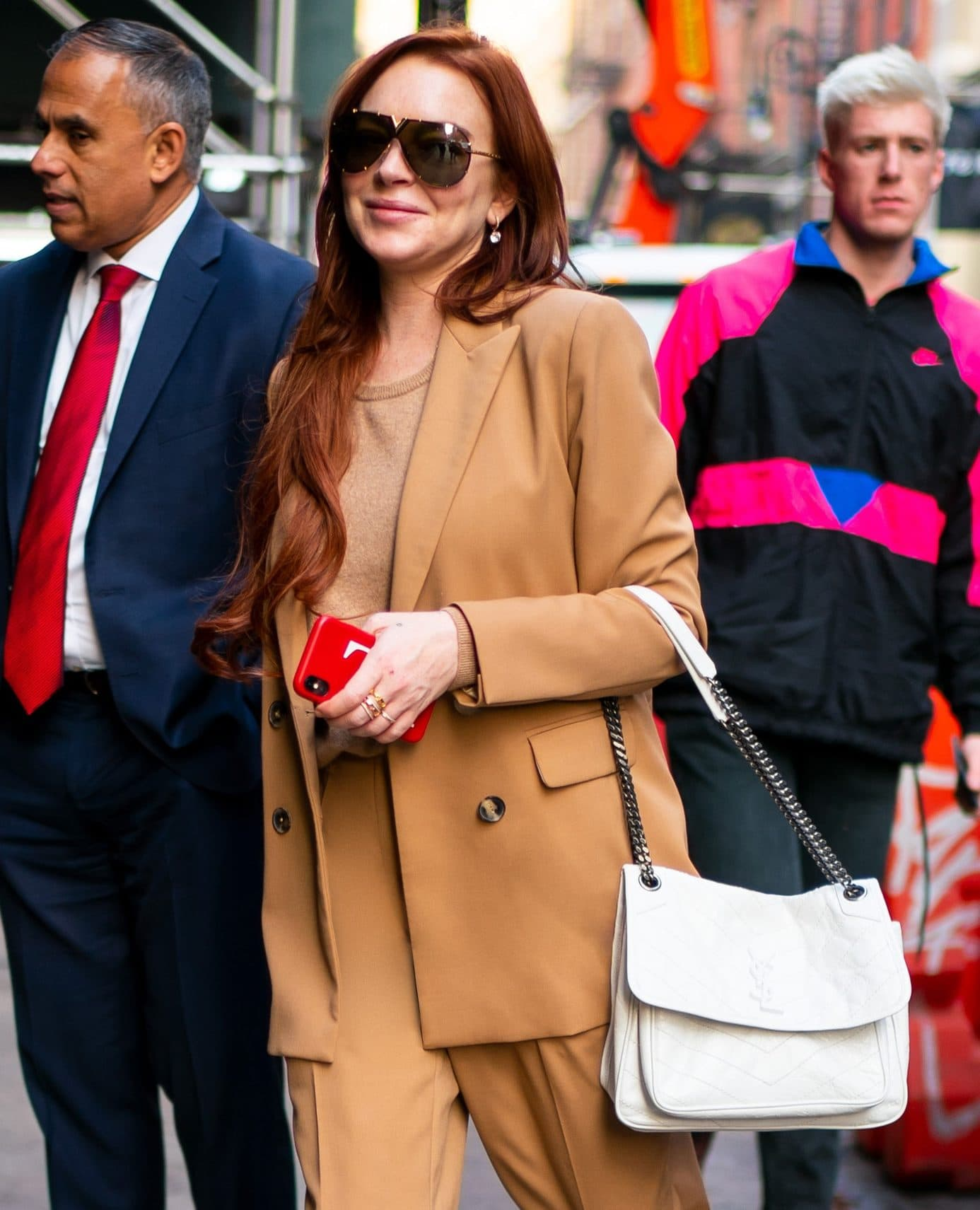 Lindsay Lohan saunters around New York City sporting the Niki bag in white leather.