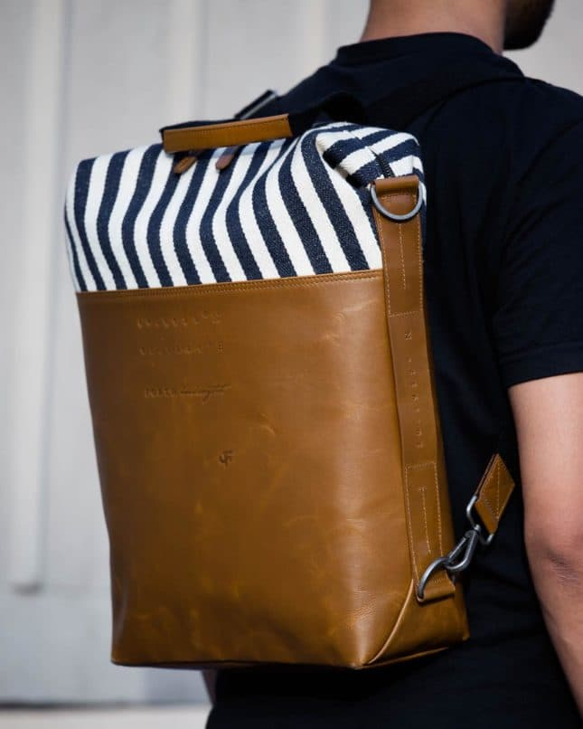 Canvas and tan brown leather backpack. Image:Courtesy Forth Goods