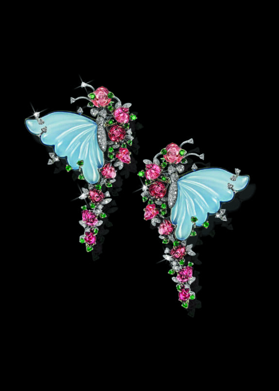 Butterfly inspired earrings my Mirari. Image:Courtesy Mirari