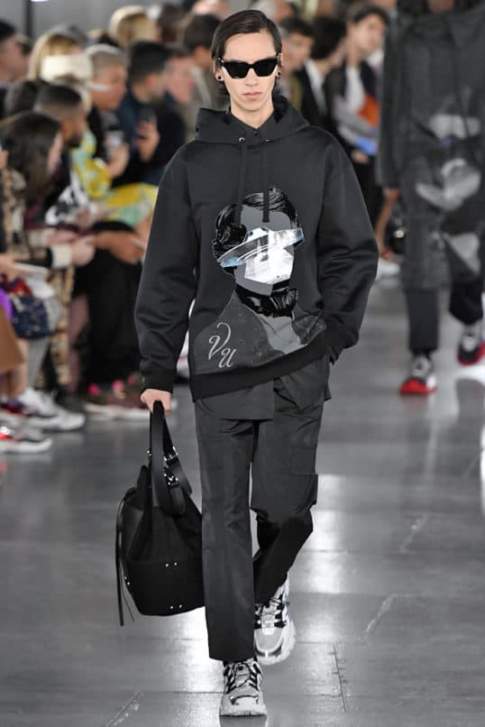 PARIS, FRANCE - JANUARY 16: A model walks the runway during the Valentino Menswear Fall Winter 2019/2020 fashion show as part of Paris Fashion Week on January 16, 2019 in Paris, France. (Photo by Victor VIRGILE/Gamma-Rapho via Getty Images)