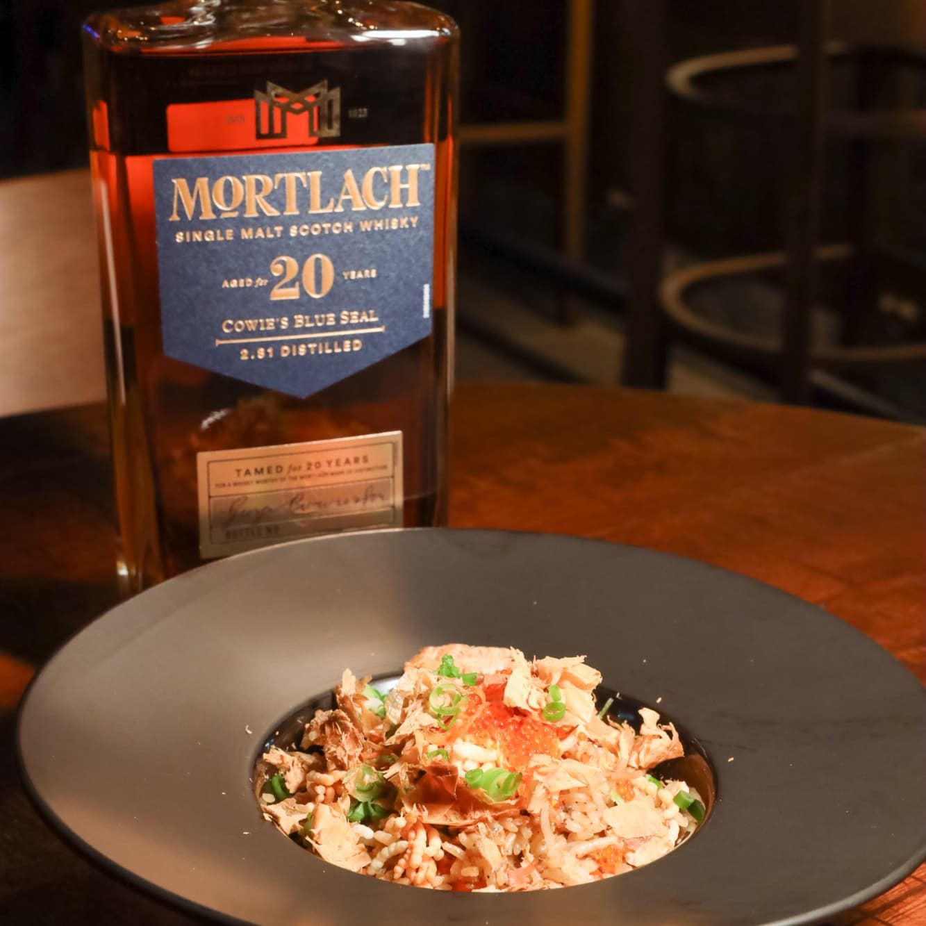 The Mortlach 20 Year Old is paired with a meaty Iberico fried rice.