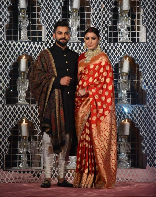 Actress Anushka Sharma and cricketer Virat Kohli at their Delhi reception. Image:Courtesy Pinterest