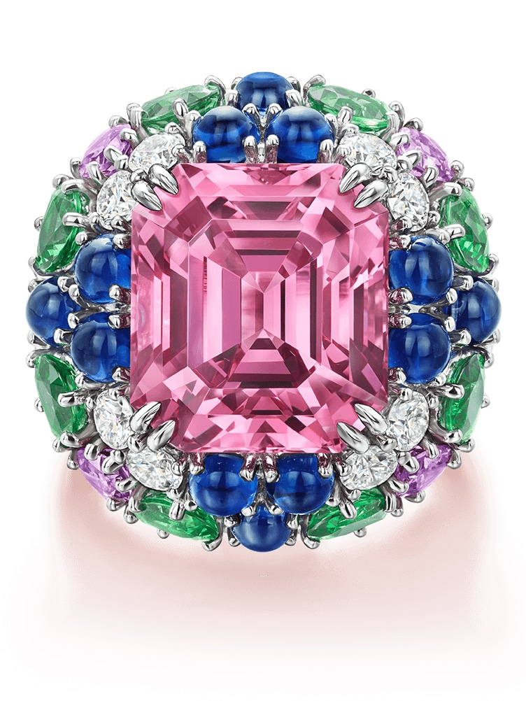 Pink spinel Ring with tsavorite Garnets, multi-coloured sapphires and diamonds (Image - Harry Winston)