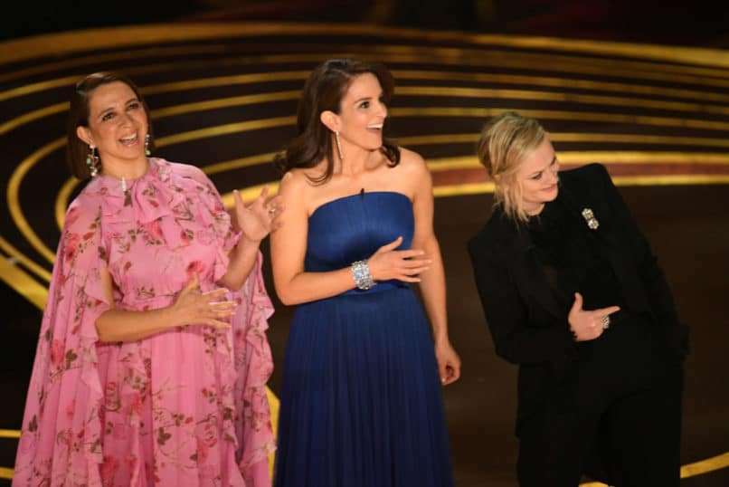 L-R) Maya Rudolph, Tina Fey, and Amy Poehler, the first presenters at the ceremony. Image: Courtesy Kevin Winter/Getty Images