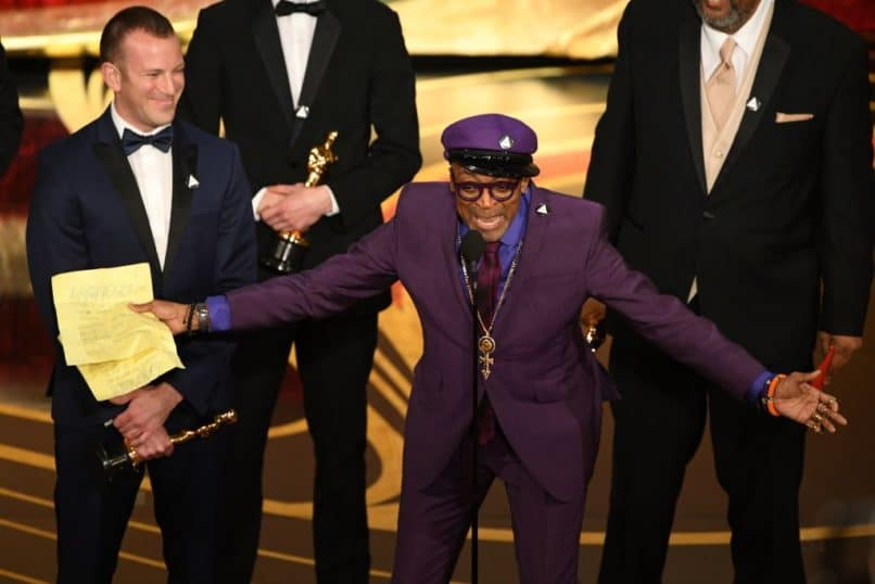 "Best Adapted Screenplay nominee for ""BlacKkKlansman"" Spike Lee accepts the award for Best Original Screenplay during the 91st Annual Academy Awards at the Dolby Theatre in Hollywood, California on February 24, 2019. (Photo by VALERIE MACON / AFP) (Photo credit should read VALERIE MACON/AFP/Getty Images)"