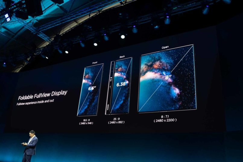 Huawei CEO Richard Yu displays the new Huawei Mate X foldable 5G smartphone at the Mobile World Congress, in Barcelona, Spain.