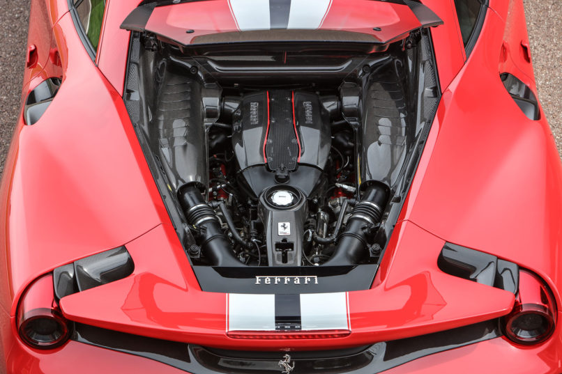 A Ferrari 3.9-litre V8 engine used in the F8 Tributo and the Pista