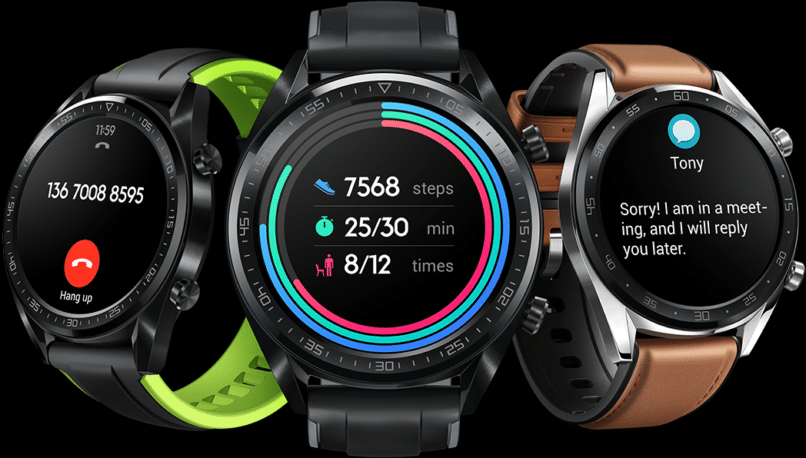 The Huawei Watch GT's notification interface and fitness app. (middle)