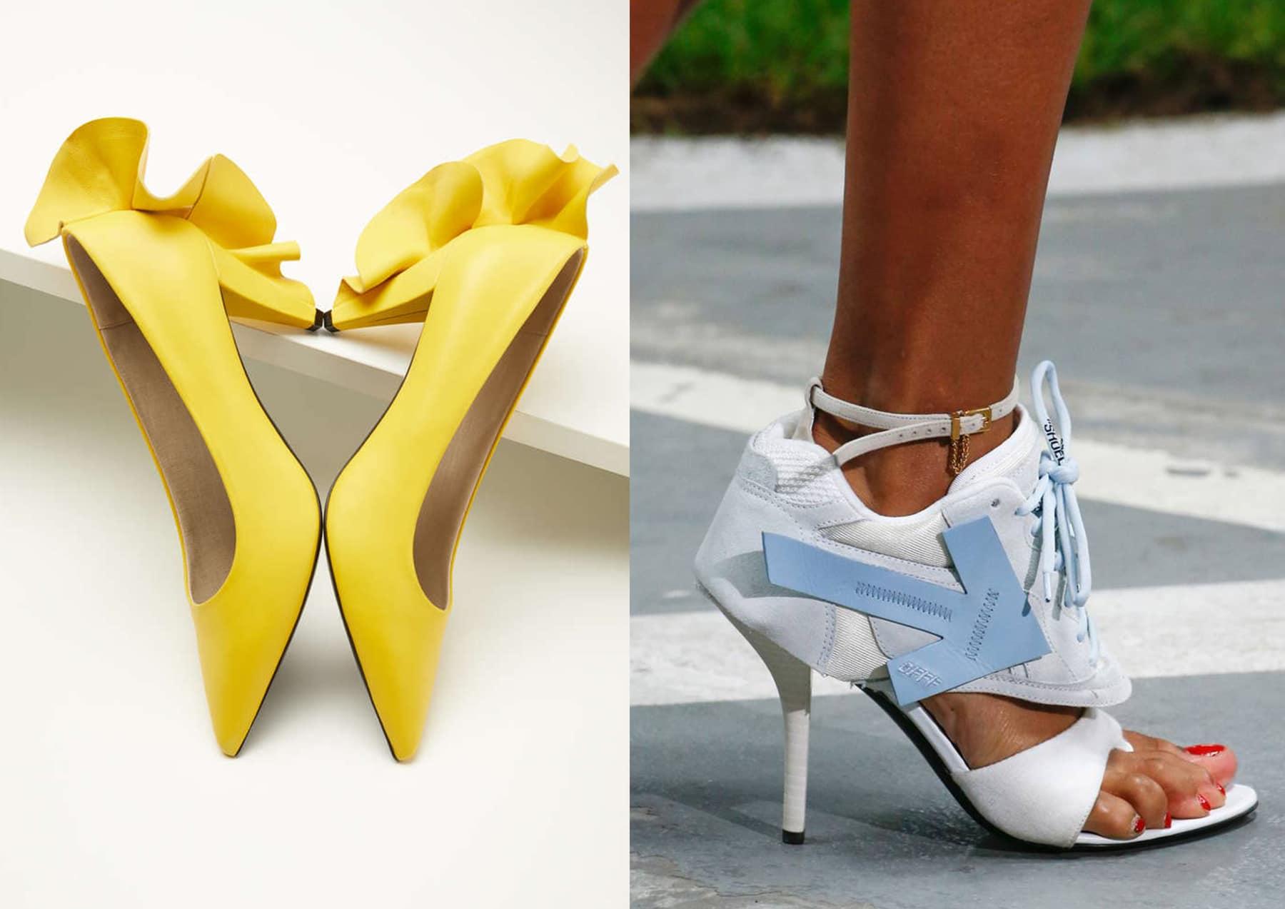 Yellow flounced heels and Sneaker heels