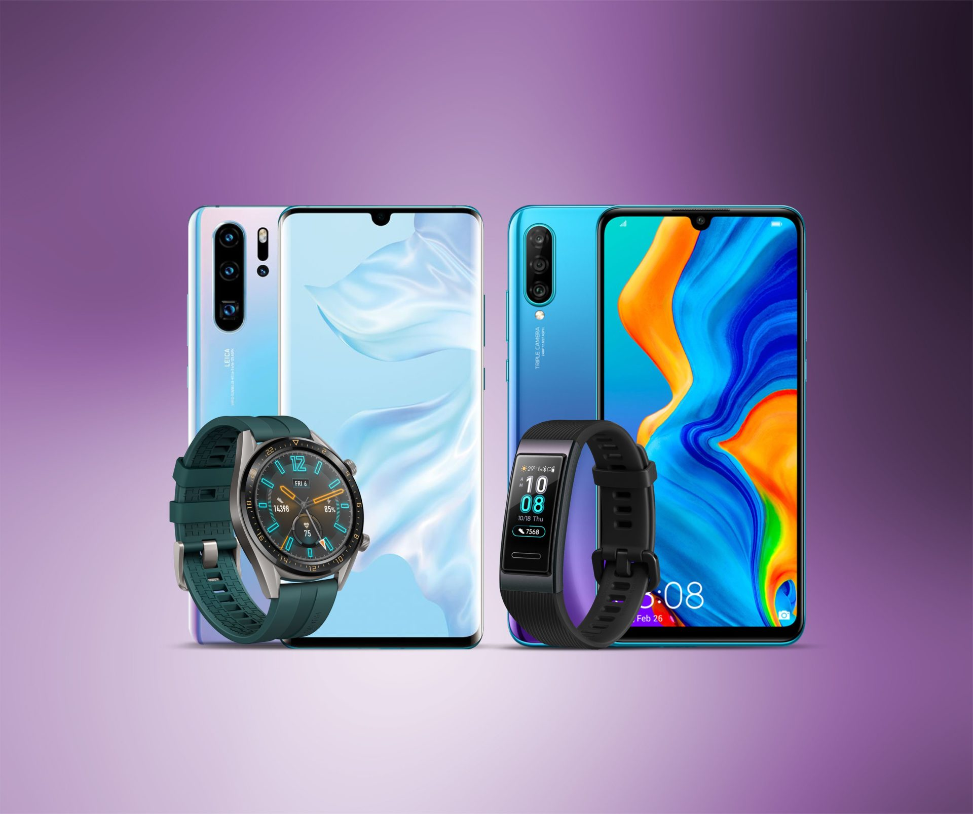 Huawei P30 Pro with Watch GT, P30 Lite with Smart Sport Watch