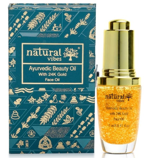 Natural Vibes Ayurvedic Beauty Face Oil With 24K Gold Flakes