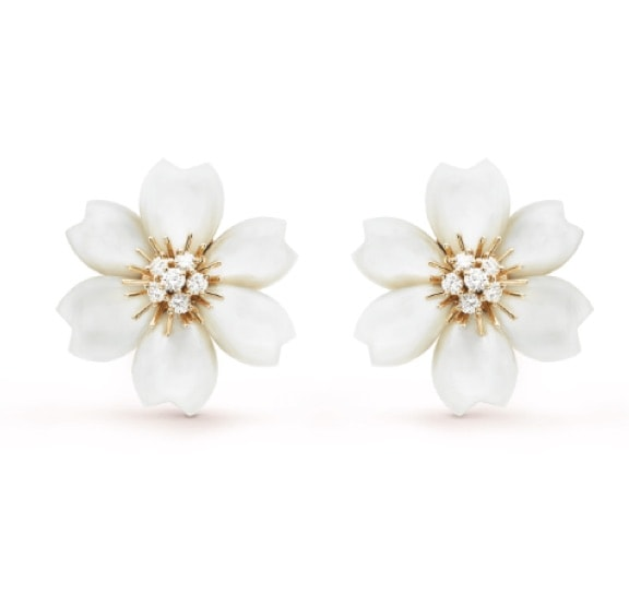 Stud Earrings: Van Cleef & Arpels Rose de Noel Earrings Small