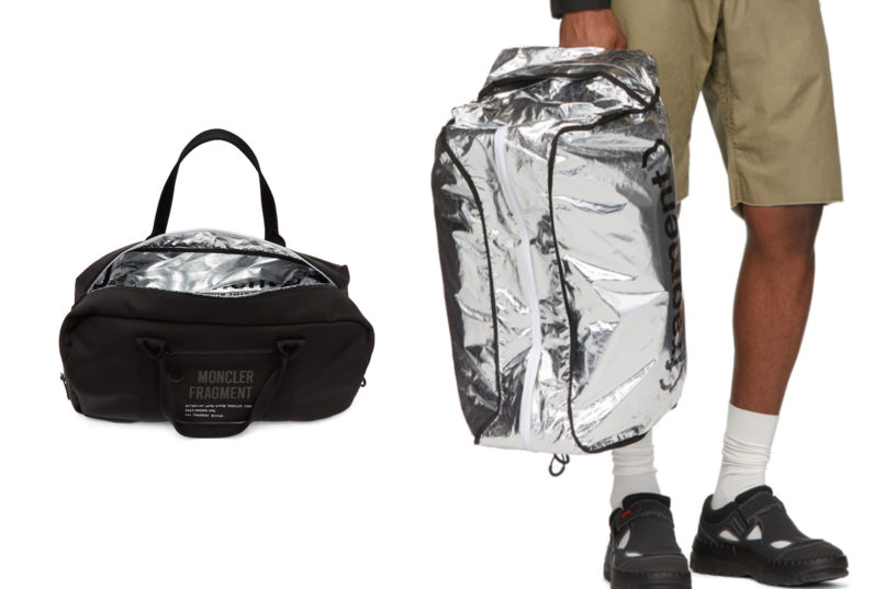 reversible silver duffle bag