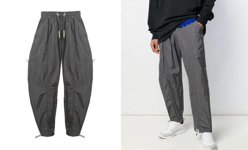 Diagonal tie track pants