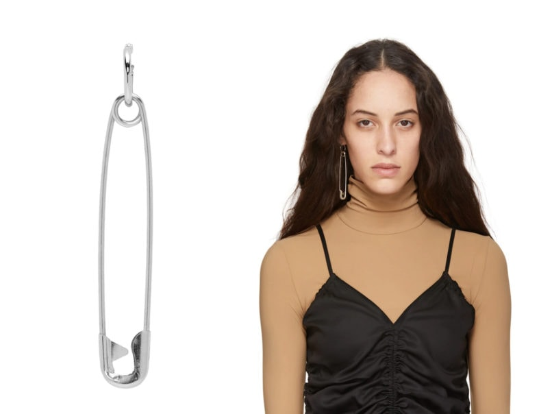 Silver pin earring by Martine Ali