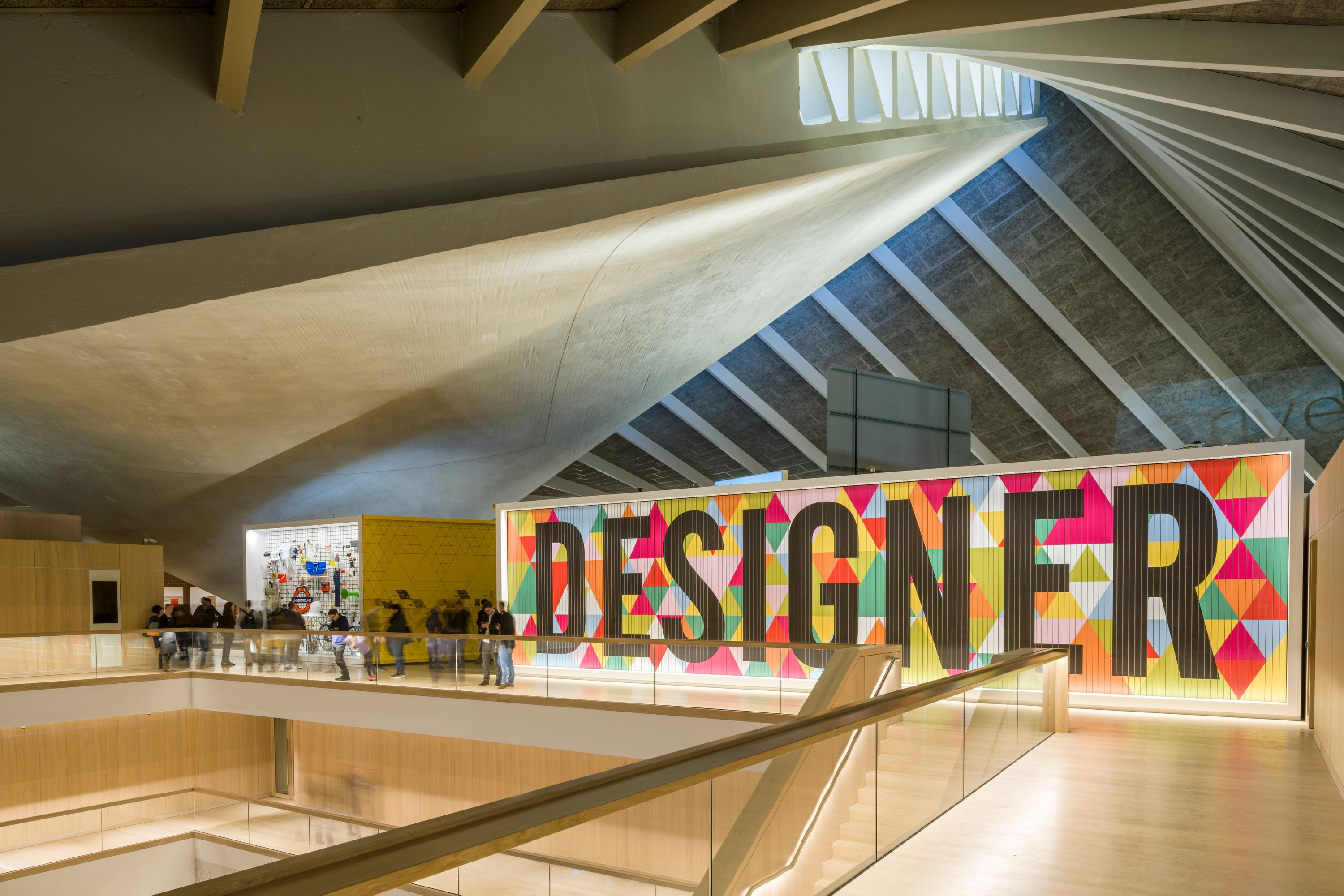 A part of Morag Myerscough's work at Design Museum's first permanent exhibition in London. Image: Courtesy Morag Myerscough