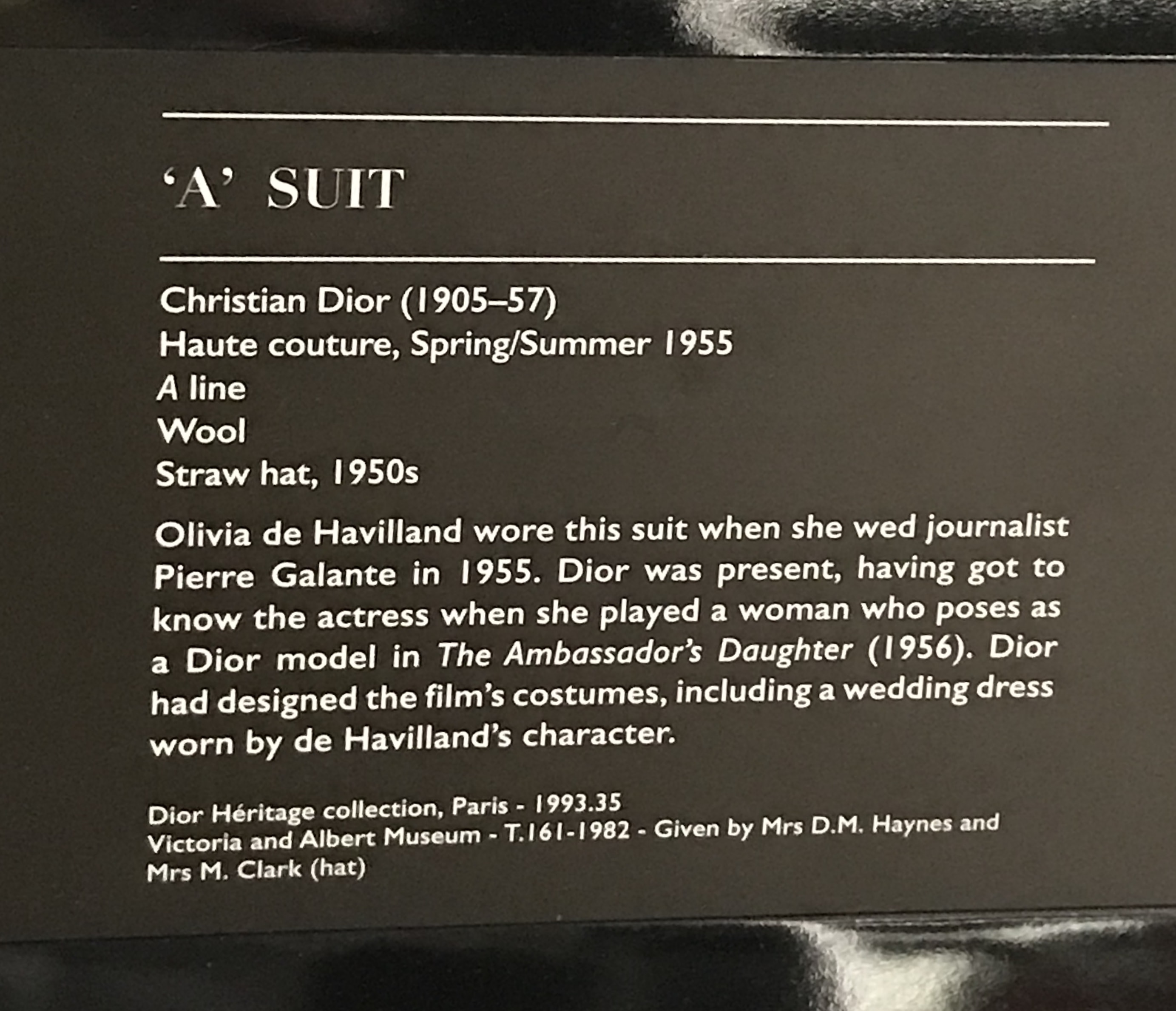 The Christian Dior Designer of Dreams Exhibition at the V&A. The A Suit from the Dior Line.