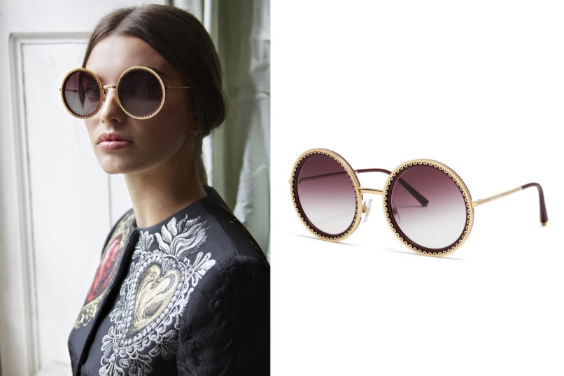 Dolce & Gabbana cuore sacro round frame lace shades