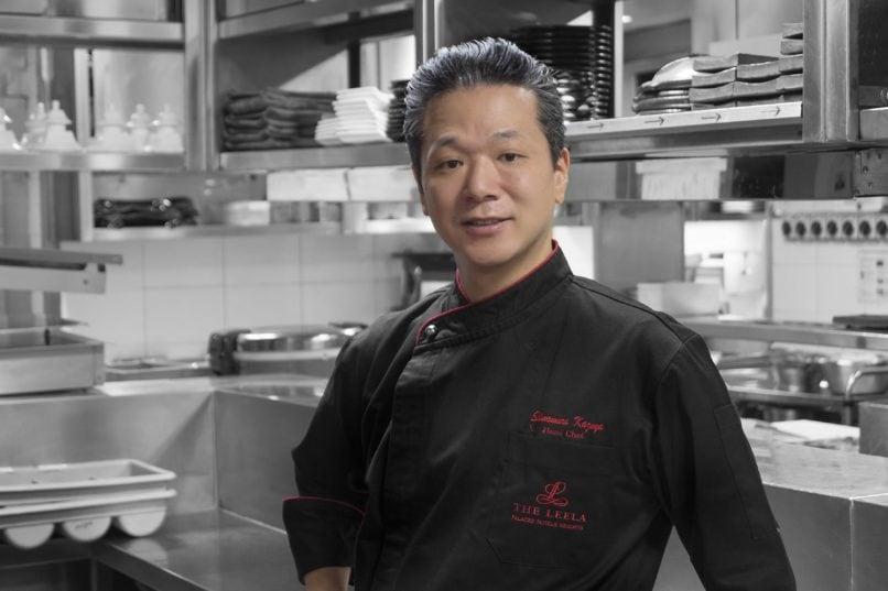 Chef Shimomura Kazuya at Megu, The Leela Palace Delhi. Sushi guide