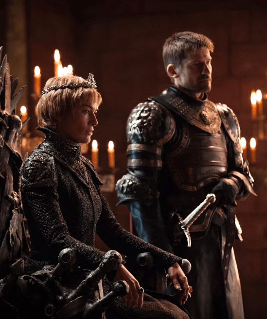 Game of Thrones, Cersei Lannister and Jaime Lannister at the throne in king's landing