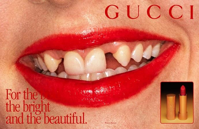 Dani Miller for Gucci's lipstick campaign.