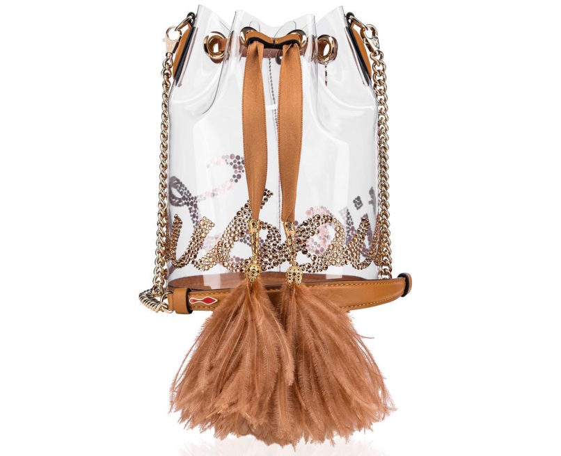Christian Louboutin Nudes collection see through bucket bag