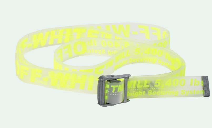 Off-White industrial belt transparent fluorescent yellow see through
