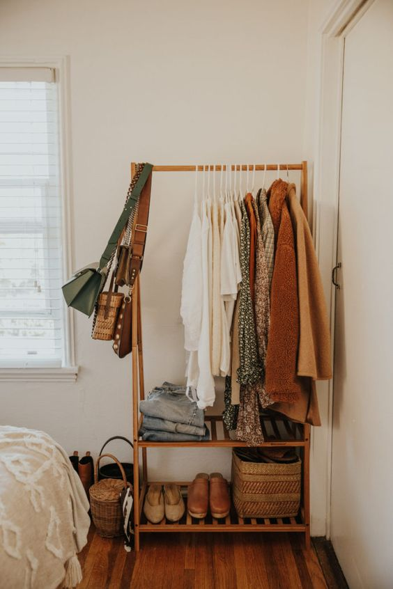 Clothing rack ideas for a stylish closet in your bedroom