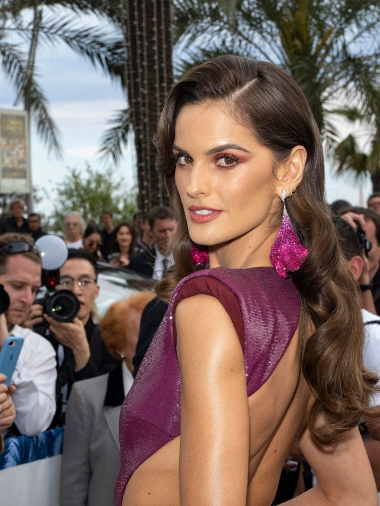 Izabel Goulart in Chopard earrings studded with ruby, pink sapphire, diamond and titanium. Image: Courtesy Getty