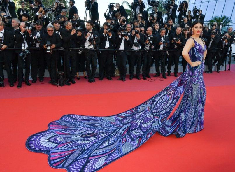 Aishwarya Rai Bachchan in Michael Cinco at Cannes 2019. Image: Courtesy Getty