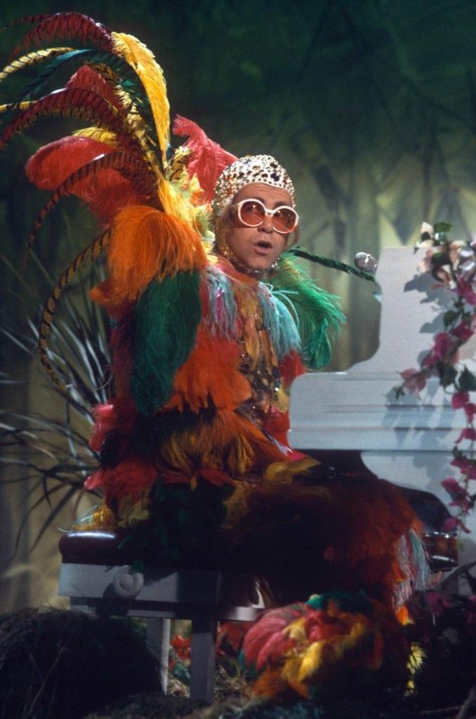 Elton John in Bob Mackie. Image: Courtesy Pinterest