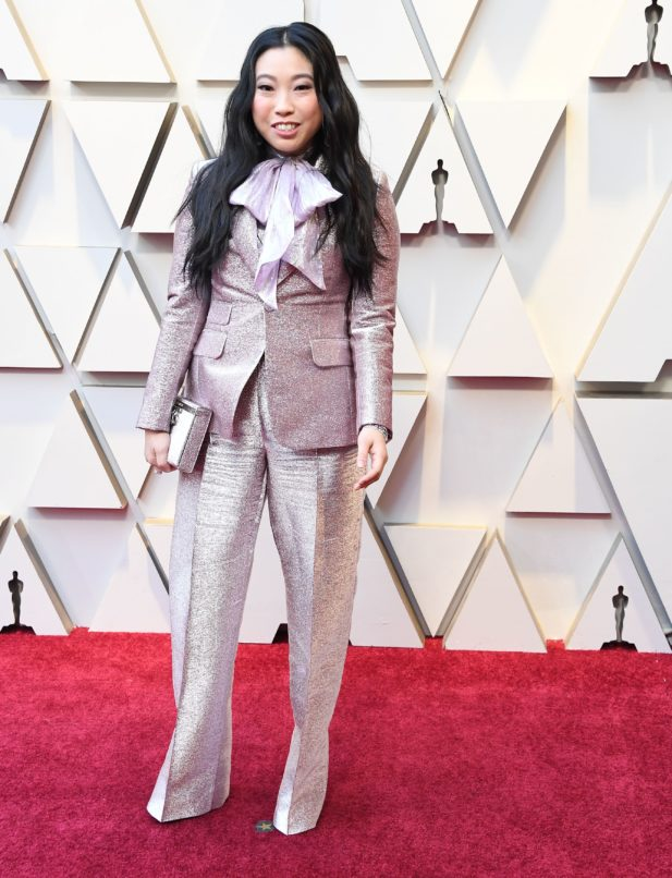 Awkwafina in Armani giving us cues on how to wear bows. Image: Courtesy Getty