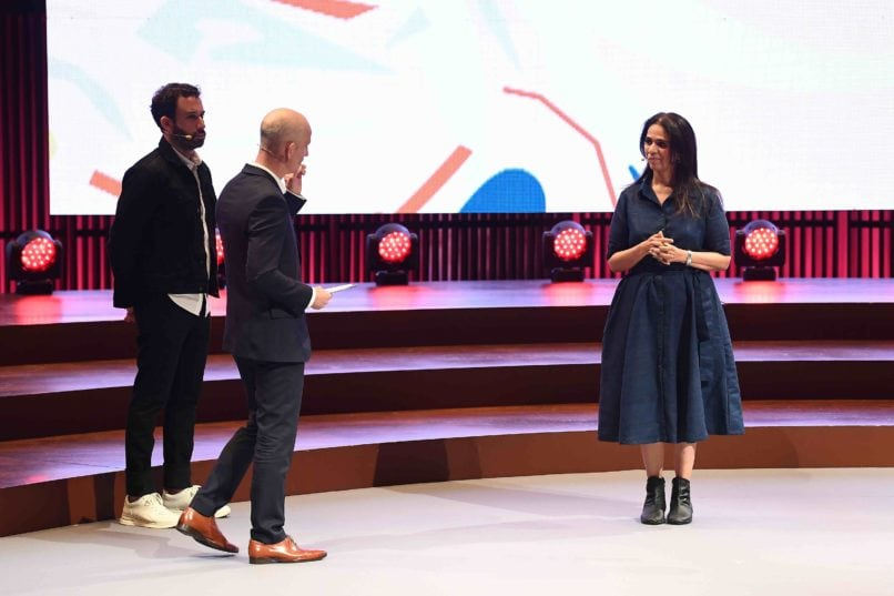 Michael Preysman, Founder and CEO, Everlane and Morten Lehmann, Chief Sustainability Officer, Global Fashion Agenda and Anita Dongre, Chief Creative Officer, House of Anita Dongre take part in the 'Taking the pulse of the fashion industry' Panel discuussion Copenhagen Fashion Summit 2019. Image: Courtesy Getty
