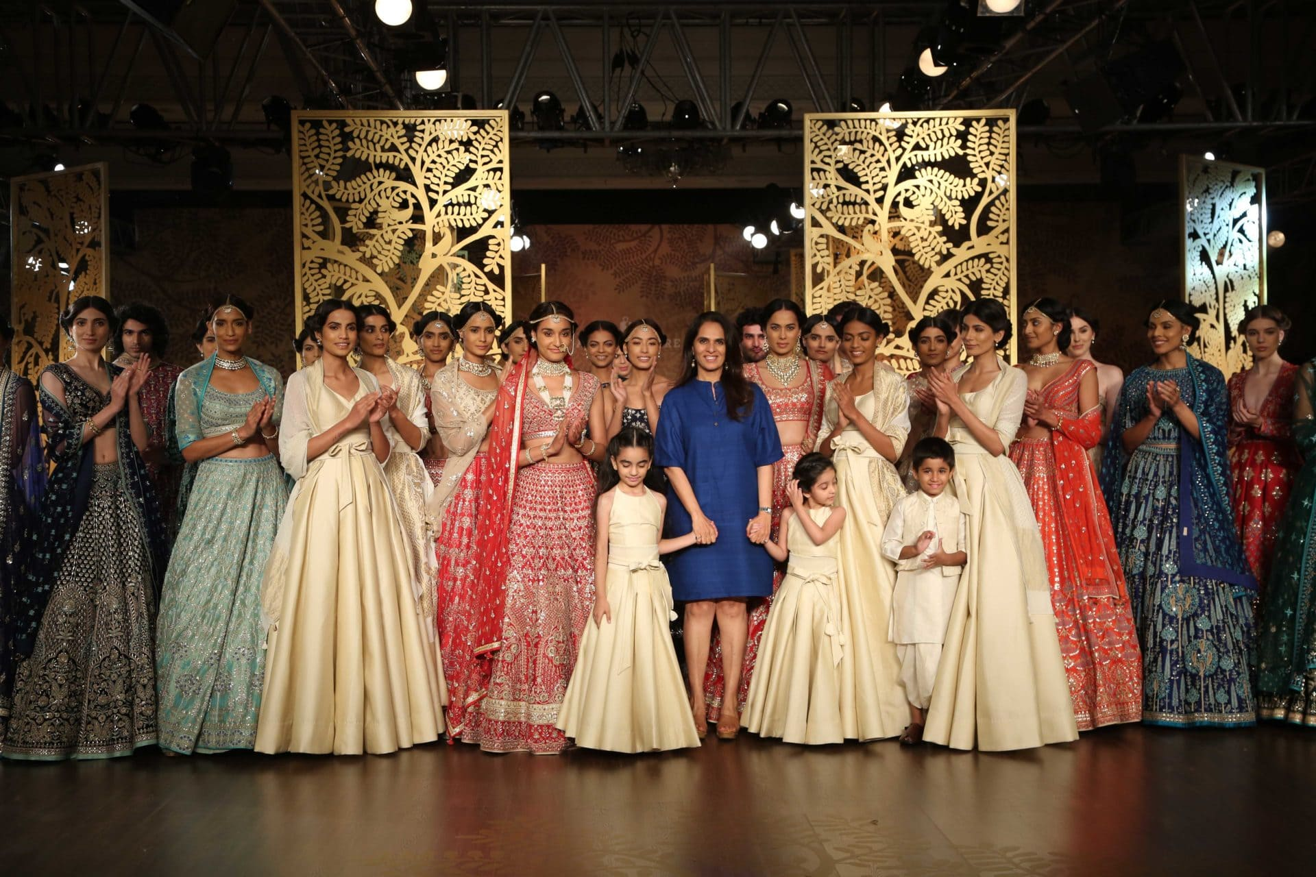 Anita Dongre at the finale of her couture collection 'Tree of love''. Image: Courtesy Anita Dongre