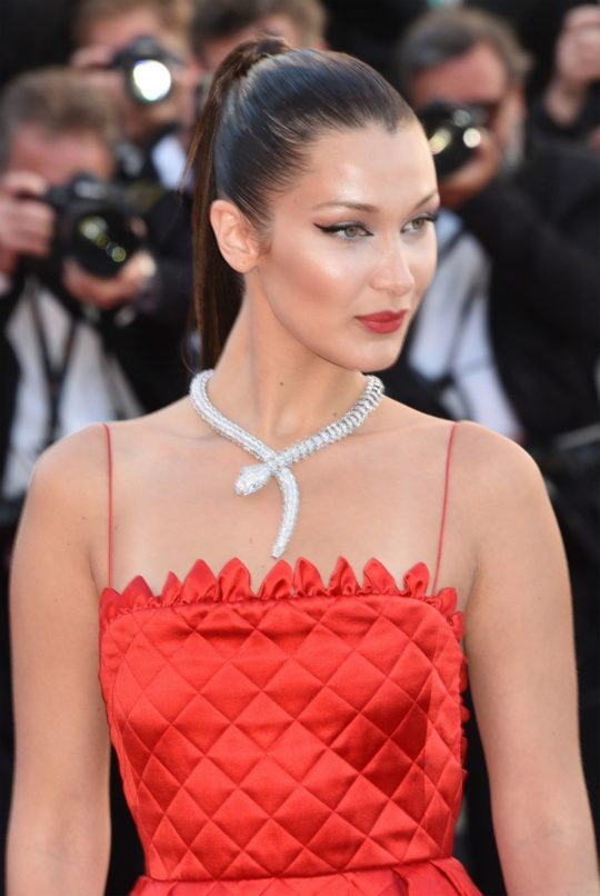 Bella Hadid at Cannes wearing a Bulgari serpenti neckpiece. Image: Courtesy Bulgari