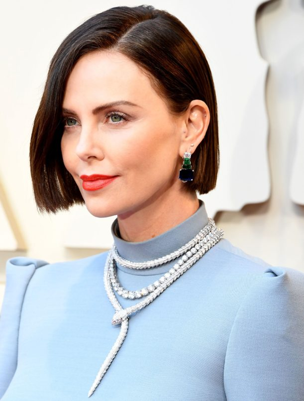 Charlize Theron wearing a Bulgari serpenti neckpiece at the Oscars 2019. Image: Courtesy Bulgari