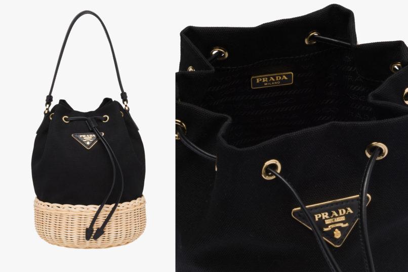 Prada wicker and leather shoulder bag